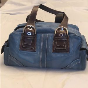 Coach blue soft leather w/brown leather straps
